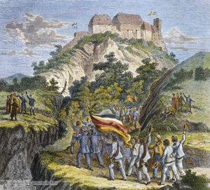 Für Freiheit und Einigkeit: Studentenzug zum Wartburgfest 1817 (Bild: http://tiny.cc/4kqxby)