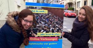 Die LHG Bonn beim plakatieren